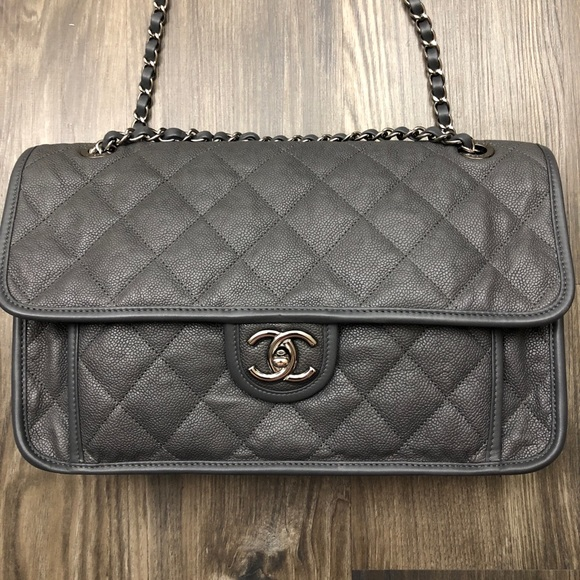 f0ed5b6a89dd CHANEL Handbags - Chanel French Riviera Grey Caviar Flap Bag